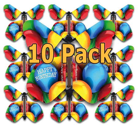 10-pack of Happy Birthday Balloons Wind Up Flying Butterfly For Greeting Cards by butterflyers.com