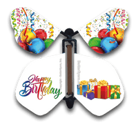 Happy Birthday Wind Up Flying Butterfly For Greeting Cards by Butterflyers.com