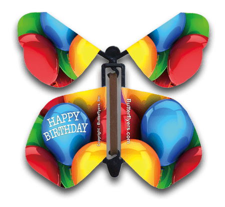 Happy Birthday Balloons Wind Up Flying Butterfly For Greeting Cards by butterflyers.com