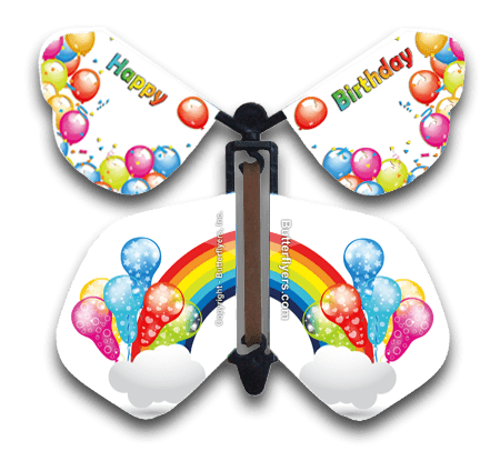 Rainbow Birthday Wind Up Flying Butterfly For Greeting Cards by Butterflyers.com