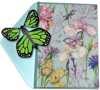 Blank Butterfly greeting card with Green monarch flying butterfly from butterflyers.com