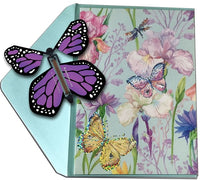 Blank Butterfly greeting card with Purple monarch flying butterfly from butterflyers.com