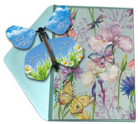 Butterfly Greeting Card With Thank You Wind Up Flying Butterfly