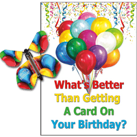 Birthday Greeting Card with Birthday Balloons wind up flying butterfly from butterflyers.com