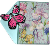 Blank Butterfly greeting card with Pink monarch flying butterfly from butterflyers.com