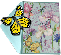 Blank Butterfly greeting card with Yellow monarch flying butterfly from butterflyers.com