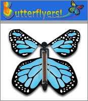 Sky Blue Monarch Wind Up Flying Butterfly For Greeting Cards by Butterflyers.com