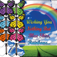 Blue Sky Rainbow greeting card with flying butterfly from butterflyers.com
