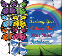 Blue Sky & Rainbows Card With Flying Butterfly