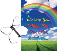 Blue Sky Rainbow greeting card with blank flying butterfly from butterflyers.com