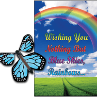 Blue Sky & Rainbow greeting card with Blue monarch flying butterfly from butterflyers.com