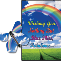 Blue Sky & Rainbow greeting card with Blue Sky flying butterfly from butterflyers.com