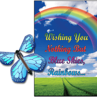 Blue Sky & Rainbow greeting card with Cobalt Blue monarch flying butterfly from butterflyers.com