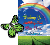 Blue Sky Rainbow greeting card with green flying butterfly from butterflyers.com