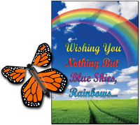 Blue Sky & Rainbow greeting card with Orange monarch flying butterfly from butterflyers.com