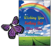 Blue Sky & Rainbow greeting card with Purple monarch flying butterfly from butterflyers.com