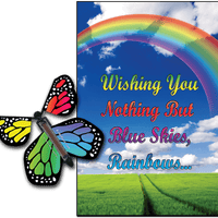 Blue Sky & Rainbow greeting card with Rainbow monarch flying butterfly from butterflyers.com