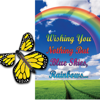 Blue Sky Rainbow greeting card with yellow flying butterfly from butterflyers.com
