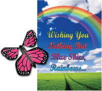 Blue Sky & Rainbow greeting card with Pink monarch flying butterfly from butterflyers.com