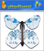 It's A Boy Wind Up Flying Butterfly For Greeting Cards by Butterflyers.com