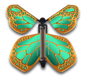 Emerald Bronze Wind Up Flying Butterfly