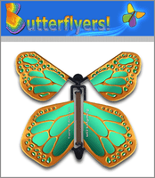Metallic Bronze Wind Up Flying Butterfly For Greeting Cards by Butterflyers.com