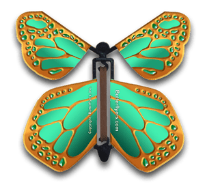 Bronze Wind Up Flying Butterfly For Greeting Cards by Butterflyers.com