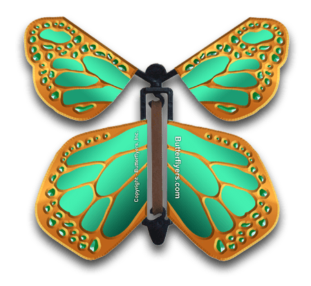 Metallic Bronze Wind Up Flying Butterfly