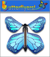 Cobalt Blue Wind Up Flying Butterfly For Greeting Cards by Butterflyers.com