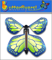 Cobalt Green Wind Up Flying Butterfly For Greeting Cards by Butterflyers.com