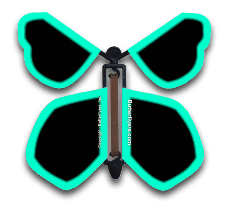 Neon Cyan Wind Up Flying Butterfly For Greeting Cards from Butterflyers.com