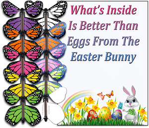 Easter Bunny Butterfly greeting card and wind up flying butterfly rom butterflyers.com