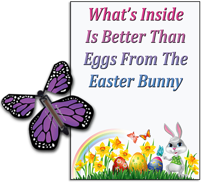 Easter Bunny Butterfly greeting card and Purple flying butterfly from butterflyers.com