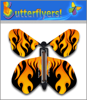 Flames Wind Up Flying Butterfly For Greeting Cards by Butterflyers.com