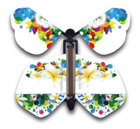 Flowers Wind Up Flying Butterfly For Greeting Cards From Butterflyers.com