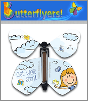 Get Well Soon Wind Up Flying Butterfly For Greeting Cards from Butterflyers.com