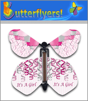 It's A Girl Wind Up Flying Butterfly For Greeting Cards by Butterflyers.com