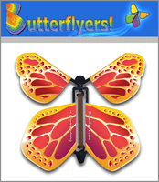 Metallic Gold Wind Up Flying Butterfly For Greeting Cards by Butterflyers.com