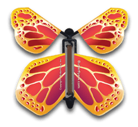 Red Gold Wind Up Flying Butterfly For Greeting Cards by Butterflyers.com