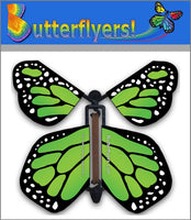 Green Monarch Wind Up Flying Butterfly For Greeting Cards by Butterflyers.com
