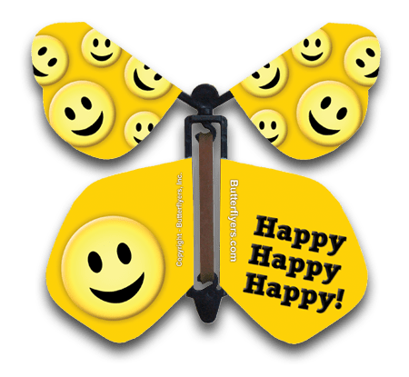 Happy Happy Happy Wind Up Flying Butterfly For Greeting Cards from Butterflyers.com