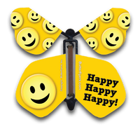 Happy Face Wind Up Flying Butterfly