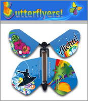 Hawaii Wind Up Flying Butterfly For Greeting Cards by Butterflyers.com