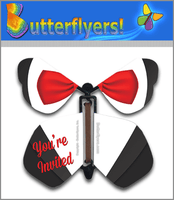 Bow Tie Invitation Wind Up Flying Butterfly For Greeting Cards by Butterflyers.com