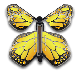 Yellow Iron Wind Up Flying Butterfly For Greeting Cards by Butterflyers.com