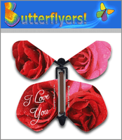 I Love You Wind Up Flying Butterfly For Greeting Cards by Butterflyers.com