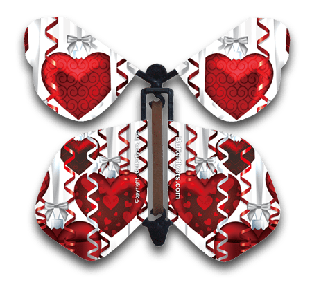 Big Hearts Wind Up Flying Butterfly For Greeting Cards by butterflyers.com