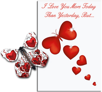 More Today Than Yesterday Greeting Card With Big Hearts Flying Butterfly from Butterflyers.comCard