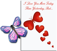 More Today Than Yesterday Greeting Card With Cobalt Pink Flying Butterfly from Butterflyers.comCard