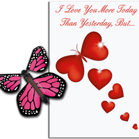 More Today Than Yesterday Greeting Card With Pink Flying Butterfly from Butterflyers.comCard